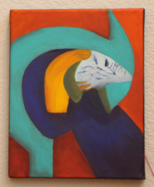 debra linker, painting, acrylic, animal, bird, abstract
