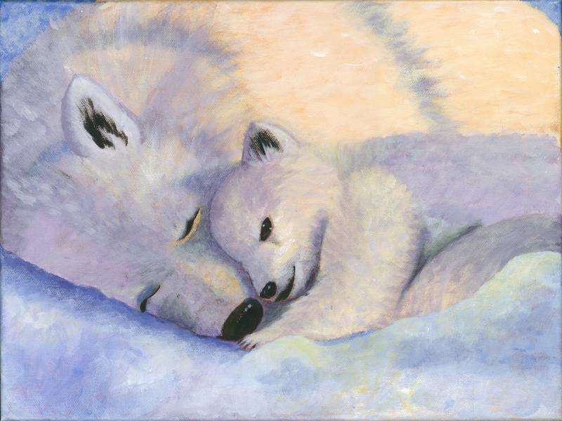 debra linker, painting, acrylic, animal, polar bear, baby bear, snow,