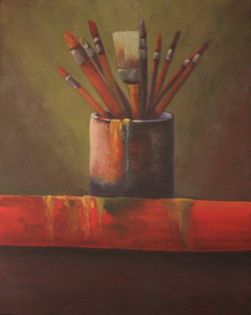 debra linker, painting, acrylic, paint brushes, artist, tools,